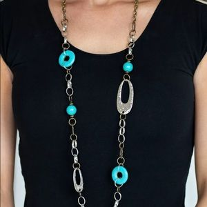 Artesian Artistries Long Silver & Blue Necklace